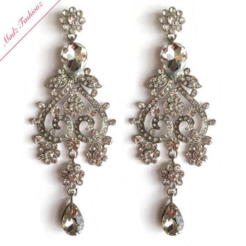 Chandelier Earrings Rhinestone Bridal Earrings Cubic Zirconia Crystal Earrings | MadzFashionz