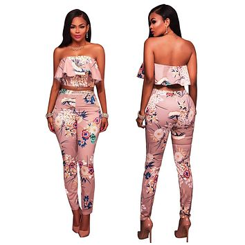 Strapless Ruffles Print Crop Top with High Waist Skinny Long Pants Two Pieces Set