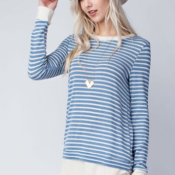 Blue/White Striped Long Sleeve Knit Top