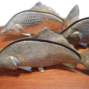 Modello Depositato Italy Napkin Letter Holder Mid Century Silverplate Fish Set of Three 3