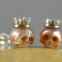 Carved Pink Pearl Skull Stud Earrings With Sterling Silver Crowns and Sterling Silver Backs - Ready to Ship - Holiday Gift - Unique Gift