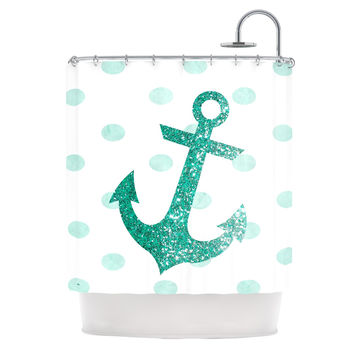 "Nika Martinez ""Glitter Anchor in Mint"" Teal Shower Curtain"