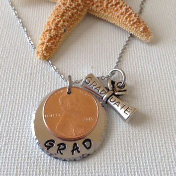 Graduation 2015 lucky penny necklace or keyring, graduation charm, new 2015 penny, graduation gifts, graduates, gifts for grads