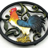Cast Iron Colorful Rooster Cooking Pot Trivet