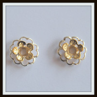 Two Tone Gold & Silver Flower -Beautiful Earring Jackets - Your Choice - Gold Flower with Silver center or Silver Flower with Gold Center