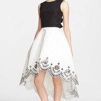 Women's Oscar de la Renta Laser Cut Broderie Anglaise Silk Faille Cocktail Dress,