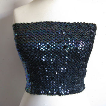 Vintage 1980-90s Tube Top Club Kid Sequin 80s Blue Iridecent or Silver-PinkTube Top OS