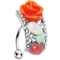 Top Mount Crystalline Natural Rose Belly Ring | Body Candy Body Jewelry