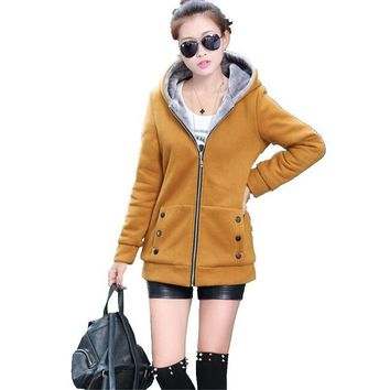 Winter Coat New Style Ladies Coat Pure color Long sleeve Hooded Jacket Add wool Warm Cotton Coat Big yards Slim Women Coat G2578