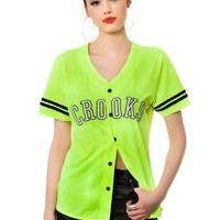 Crooks and Castles Women's Athletica Baseball Jersey Extra Small Yellow
