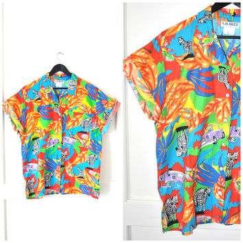 mens SURFER safari Tshirt vintage 1980s 80s button down ACE VENTURA tropical print mens oxford shirt