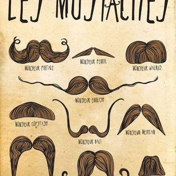 Mustache Print Art, Digital Illustration Wall Decor, Mustaches Drawing Art Print, Moustache Poster, Digital Print Wall Art