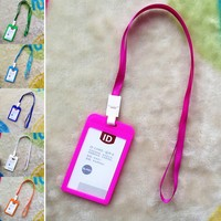 Women Men Name Credit Card Holders Bank Card Neck Strap Card Bus ID Holders Candy Colors Identity Badge With Lanyard