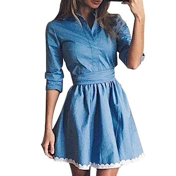 Slim Lace Stitching Blue Denim Dress 2017 Autumn Women's Casual Turn-down Collar A-Line Dress Fashion Party Mini Dresses