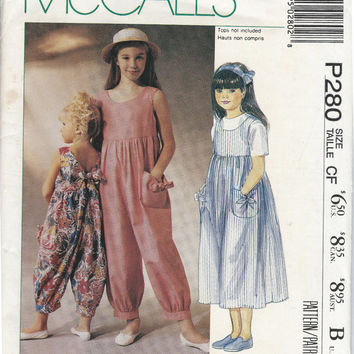 McCall's Laura Ashley Girl Jumpsuit Sungress Printed Sew Pattern 4802