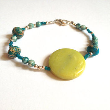 Turquoise and Lime Green Beaded Bracelet
