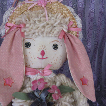 Vintage Rag Mop Doll, Long Ear Bunny Doll, pink and white, a real charmer