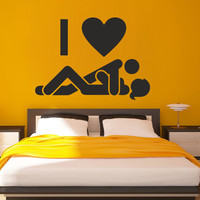 I221 Wall Decal Vinyl Sticker Art Decor Design icon love sex couple two bedroom joke guy husband wife sign room dorm Living Room Bedroom