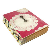 Pink Coptic Journal with Vintage Doily Design - Wedding guest book- Skeleton Key