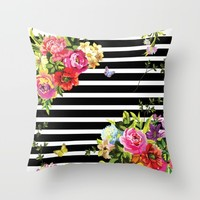 Stripes Floral Throw Pillow by MY HOME | Society6