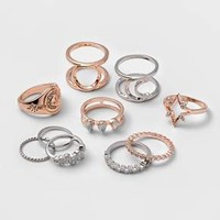 Women's 10pc Open Moon North Star and Stone Ring Set