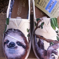 Custom hand painted TOMS shoes, I love Sloths