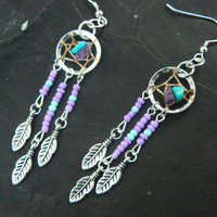 turquoise and amethyst dreamcatcher earrings PURPLE in native american tribal boho belly dancer and hipster style