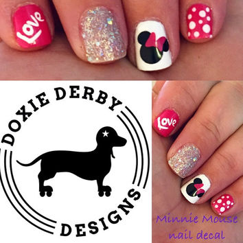 Minnie Mouse nail decals (bow any color )