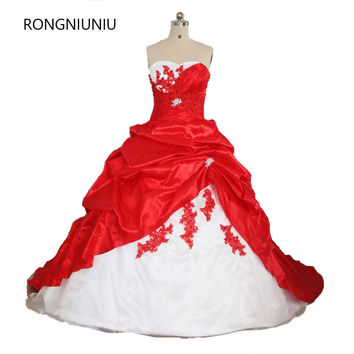 2017 Free shipping Red and White Sweetheart Wedding Dress Ruched Ball Gown Off the Shoulde Sleeveless