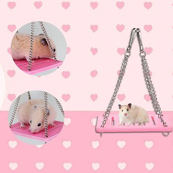 Small Pet Animal Hanging Swing Chew Play Toy for Hamster Chinchillas Guinea Pigs