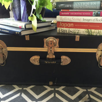 Trunk. Seward trunk. Black trunk. Coffee table. Guest bedroom. Fig House Vintage