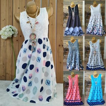 Women Polka Dots Sleeveless  Dress  (S-5XL)