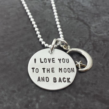 I Love You to the Moon and Back Necklace with Moon and Star Charm