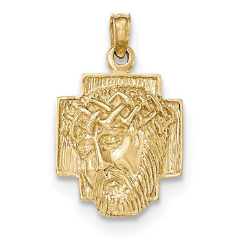 14K Gold Polished 2-D Small Jesus Head with Crown Pendant K5585