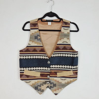 S Vintage Vest Southwestern Print, Muted Colors, Tan Blue Cream, 90s Style Vest, Button Down Vest, Aztec Print, Earthy Tones, Mexican