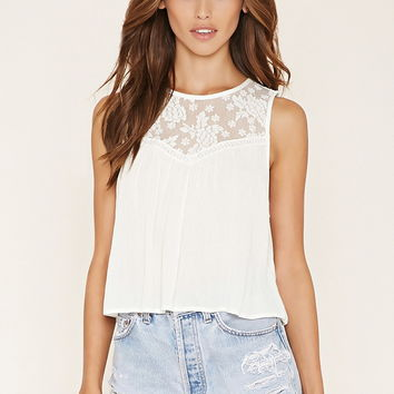 Crinkled Lace-Paneled Top