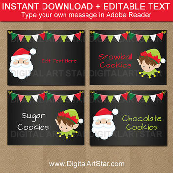 Christmas Chalkboard Labels - Printable Christmas Chalkboard Buffet Cards - Printable Holiday Party Decor - DIY Santa Chalkboard Labels C2