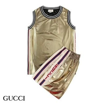 GUCCI Tide brand high-grade body shiny side letter ribbon belt set two-piece gold