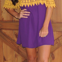 Off Shoulder Dress - Purple/Gold