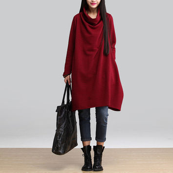 New 2016 Autumn And Winter Fashion Turtleneck Long Sleeve Loose Casual Dress Women Thicken Cotton Dresses Plus Size H350
