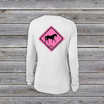 Horse Crossing Pink UPF Long Sleeve Shirt