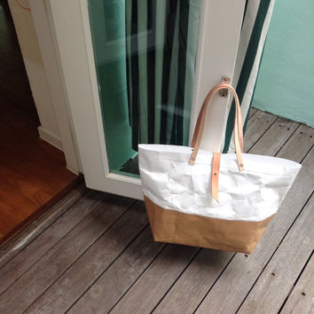 Tote Bag Large Long strap : Tyvek and Kraft paper bag