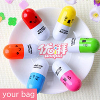 Cute pen,smiley face pill capsule ball pen painting,vitamin ball pen(by random)