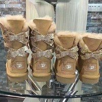 UGG Hot style wool queen diamond bow ultra female beauty with thick warm ugg boots two
