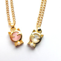 Lucky cat gold chain necklace, kawaii jewelry, cute kitten charm, white and pink stone cat pendant, Japan, kawaii cat jewelry