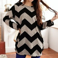 Casual Long Sleeve Round Neck Wavy Line Print Women's T-Shirt