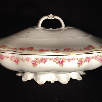 Imperial Vienna Moritz Zdekauer Hand Painted Porcelain Covered Bowl & Lid