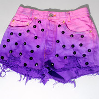 Vintage Dyed Destroyed PINK and purple LEVIS High Waist black STUDDED button fly Bleached Denim shorts cut off short shorts