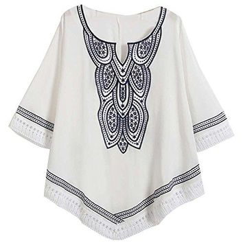 Kafeimali Womens Casual Batwing Dressy Peasant Tops Mexican Embroidery Blouse