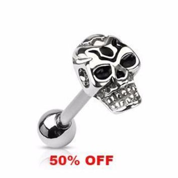 Skull Tongue Ring  14ga Surgical Steel Body Jewelry Barbell Body Piercing Black Friday Cyber Monday